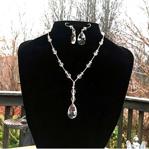 NEW Faceted Crystal Station / Y Necklace & Earring